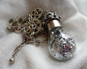 Glamorous Steampunk - Glitter and Gears Assemblage Necklace