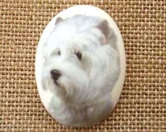 1pcs/40x30 West highland white terrier Dog Porcelain Cameo Cabochon/C59