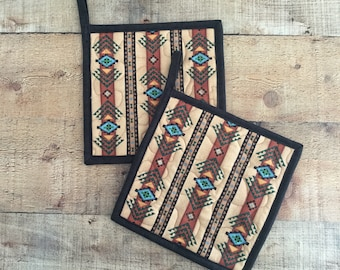 Southwestern Decor Pot Holders - Quilted Pot Holders - Native American Print - Hot Pads - Hostess Gift - Set of 2