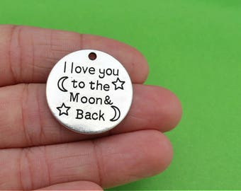 4 I Love You to the Moon and Back Silver Charms (CH364)