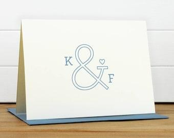 Personalized Stationery Set / Personalized Stationary Set - AMPERSAND Custom Personalized Note Card Set - Wedding Thank You Engagement