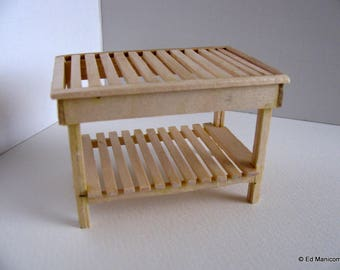 Miniature Short Garden Potting Table / 1:12 Scale Doll House Greenhouse Table / Miniature Garden Table / Handmade with Birch / Unfinished