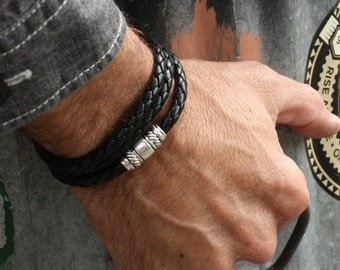Black Leather Bracelet / Triple Wrap Leather Bracelet / Magnetic Clasp Bracelet for Men and Women / Ariel