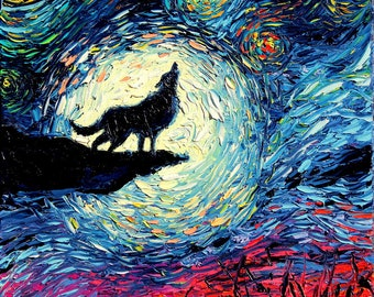 Wolf silhouette Art - Starry Night Art Print van Gogh Never Howled At The Moon by Aja 8x8, 10x10, 12x12, 20x20, and 24x24 inches choose size