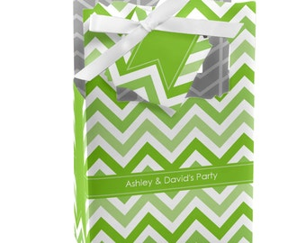 Chevron Green Favor Boxes - Custom Baby Shower, Birthday Party, or Bridal Shower Supplies - Set of 12