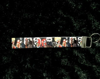 Nightmare Before Christmas Jack and sally key fob, key chain, wristlet, wrist lanyard, key lanyard strap