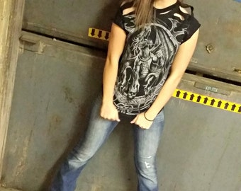 Womens Black Tshirt . Small . Dragon . Goth . Punk . Rockabilly . Tattoo Apparel . Recycled Clothing . Upcycled . Shred . Motorcycle Gear