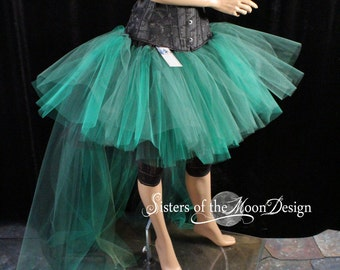 Poision Ivy Adult tutu hi low layered skirt bustle trail cosplay costume Halloween bridal wedding  - You choose Size - Sisters of the Moon