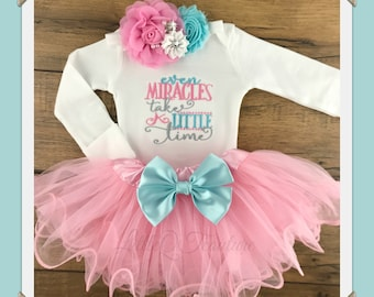 Even Miracles take a little time, Baby girl coming home outfit, baby girl take home outfit, newborn, baby girl outfit, tutu, headband, set