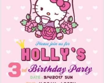 Hello kitty birthday invitation etsy hello kitty party invitation hello kitty birthday hello kitty invitation card stopboris Choice Image