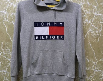 Vintage 90s Tommy Hilfiger big logo hip hop hoodies sweatshirt Pullover spell out gray colour