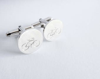 Bicycle cufflinks with engraving