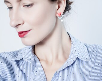 Pearl earrings, pearl stud earrings, two part earrings, red earrings, earrings triangle, earrings for sensitive ears, polymer clay earrings