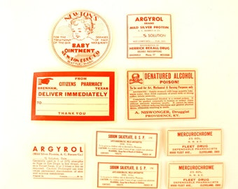 Antique Medicine Apothecary Pharmacy Labels in Red and White, Set of 9 (c.1890s) N2 - Paper Crafts, Altered Art, and more