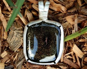 Sterling Silver Deep Bronze Dichroic Glass Organic Bezel Set Statement Pendant