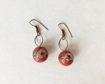 Red Cloisenné Earrings
