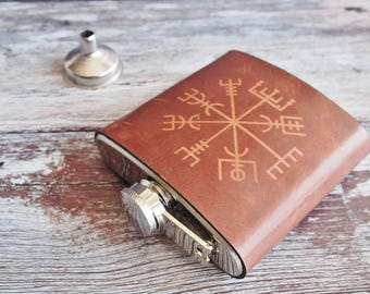 Vegvisir Leather flask, personalised rune hip flask, Icelandic Stave hip flask, Hand Engraved, personalised viking rune custom wedding gift