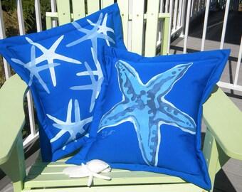 "Outdoor pillow PICK a SEA STAR starfish 20"" cobalt electric blue slim or knobby beach seashore beach echinoderm Crabby Chris Original"