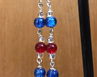 Blue and Red Beaded Dangle earrings, Blue Red Earrings, Blue Red Beaded Dangle Earrings, Red Blue Earrings, Dangle earrings