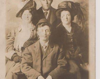 Vintage Real Photo Postcard, Smiling Couples, RPPC, Ephemera