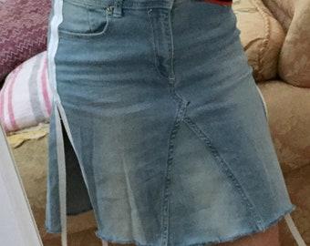 Skirt midi jeans denim side bands