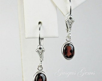 Memorial Day Sale Garnet Sterling Silver Dangle Earrings Fleur de Lis Leverbacks 7x5mm 2ctw Natural Untreated