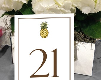Pineapple Table Numbers, Hawaii, Tropical, Traditional Welcome, Beach Wedding, 1 - 50 Instant Download and Print Table Numbers 5x7
