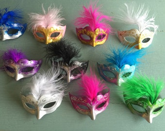 12 OMBRE Mini Mardi Gras Feathered GLITTER MASK party decorations wedding quince favor cupcake topper cake centerpiece scatter napkin ring