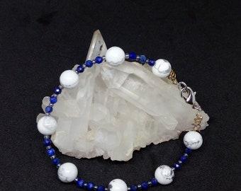 Lapis Lazuli Howlite bracelet, gemstone jewelry, natural stones