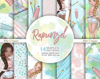 Rapunzel, Seamless Pattern, Digital Paper, Artist, Arts and Crafts, Woman Illustration, Paint Brush, Canvas, Easel, Watercolor, Paint Tubes