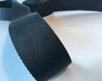 "1m Black polypropylene Webbing 50mm/2"" wide, bag strap, bag handle, closure strap, horse rugs"