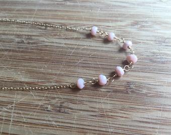 Pink Peruvian Opal Minimalist Necklace 14 Karat Gold Filled Wire and 14 Karat Gold Filled Chain
