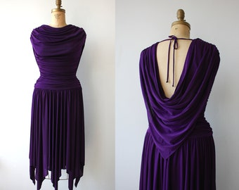 vintage 1980s dress  / 1980s purple dress / 80s casadei dress / 80s party dress / 80s disco dress / cowl neck / handkerchief hem / medium