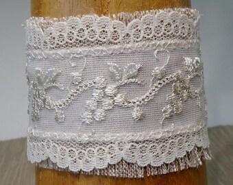 Ivory Lace Cuff Bracelet, Boho, Beige Fabric,Summer Bracelet, Country Bride Wedding Jewelry, Cottage Chic, Bridesmaid Bracelet, Grapes