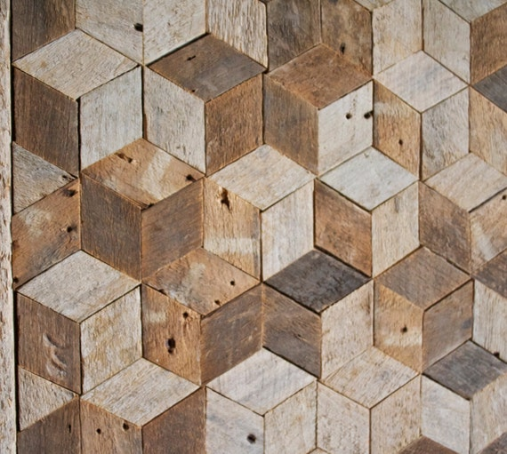 Reclaimed Wood Wall Art Decor Pattern Lath 3D Cube Geometric Graphic