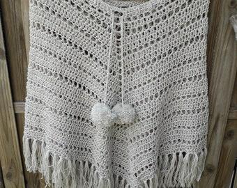 BEIGE/ECRU silver shine crocheted summer PONCHO