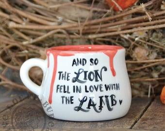 Vampire Cup - Handmade and painted Pottery mug - inspired twilight lion lamb bella edward