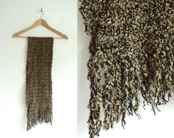 hadn knit scarf, beige black, acrylic scarf, fringe scarf, handmade scarf, long scarf, fall scarf, winter scarf