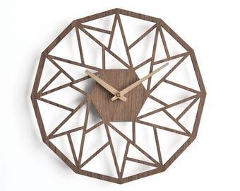 "Unique wall clocks 20"" - 50 cm Industrial wall clock | Modern wooden clock |  Geometric clock  Decorative clock"
