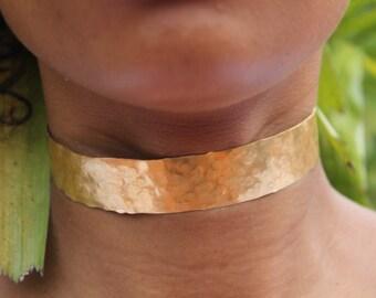 Gold Choker | Hammered Brass Choker | Gold Neck Cuff | Gold Necklace