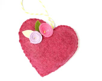 Heather pink hanging heart