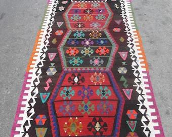free shipping VINTAGE TURKİSH konya runner kilim Anatolian handwoven kilim rug decorative kilim - SİZE : 45'' X 156'' ( 113 cm X 390 cm)