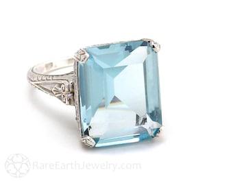 Emerald Cut Aquamarine Ring Antique Style Art Nouveau Large Aqua Ring with Filigree March Birthstone