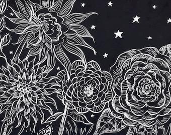 "Starry Night Black and White Art, Scratchboard Art, Original Drawing, Engraving, Flower Illustration, Black Wall Decor, ""Night Garden"""