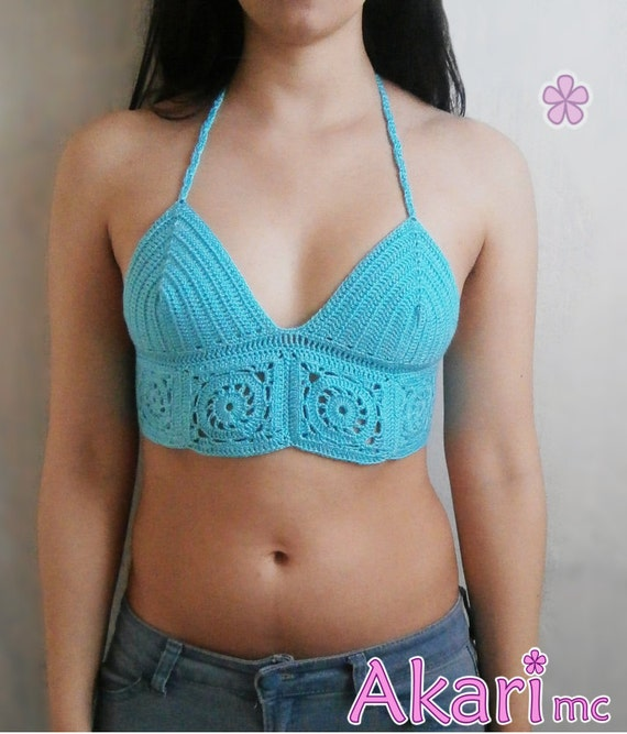 PATTERN Halter top with granny squares crochet pattern. Bikini