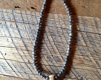 Antler Tip Pendant with Gray Marble