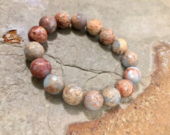 Boho style stretchy aqua terra jasper bracelet