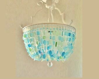 Sea Glass Chandelier Lighting Fixture Beach Glass Ceiling Fixture Flush  Mount Light Coastal Chandelier Crystal Chandelier