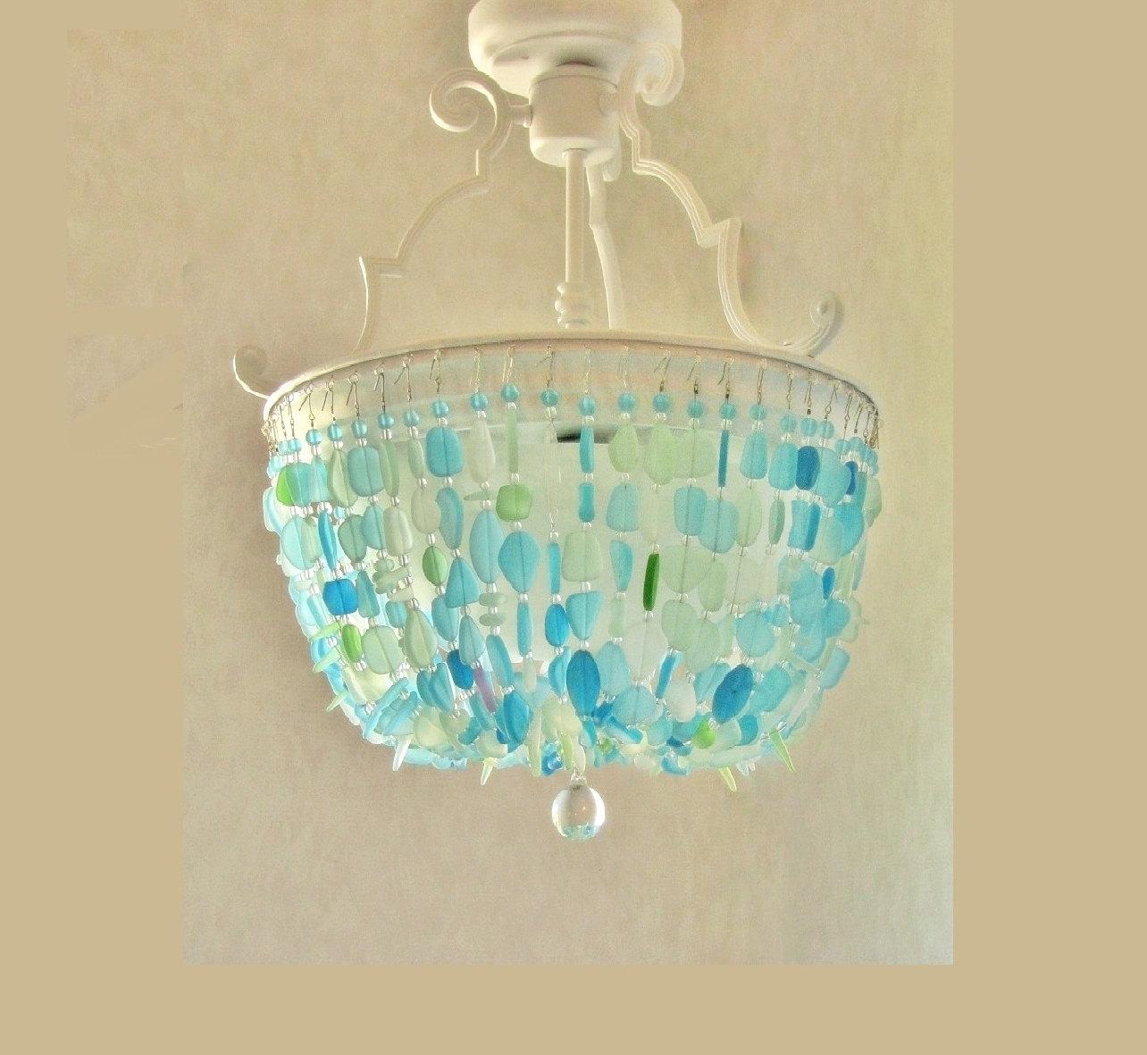 New Sea Glass Chandelier Lighting Fixture Beach Glass Ceiling RL75