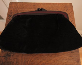 1980's Black Velvet Clutch Purse